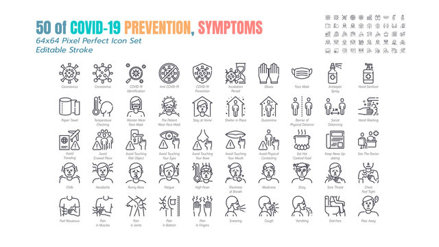 Simple Set of Covid-19 Prevention Line Outline Icons. such Icons as Protective Measures, Coronavirus, Social Distancing, Symptoms, Quarantine, Stay at Home. 64x64 Pixel Perfect. Editable Stroke.