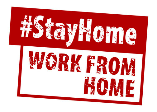 Stamp WORK FROM HOME in red.  Hashtag Stay Home rule red square rubber seal stamp.  WORK FROM HOME grunge rubber stamp on white background your web site design, app, UI.  EPS10.