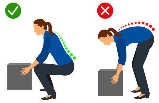 Ergonomics - Correct posture to lift a heavy object
