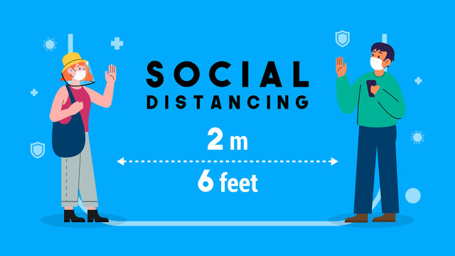 Social distancing concept vector illustration. men and female keep stand 2 meters apart in public to protect from COVID-19