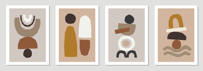 Set of minimal posters with abstract organic shapes composition in trendy contemporary collage style Fotomurales