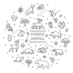 Vector. Set of linear vector forest animals