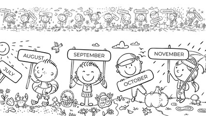Wall Mural - Children with months signs and changing weather and seasons, a long horizontal border or frame, coloring page