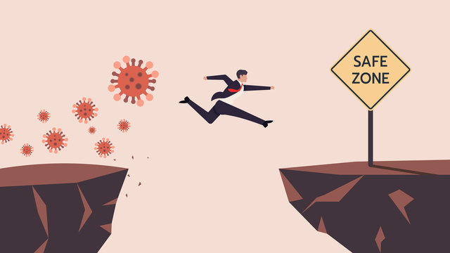 Business Man SMEs Runaway Covid-19, Coronavirus Crisis Jumping  Through The Gap Obstacles of Cliff Edge to Safe zone. Meaning is Survive or Handle or Control His Business or Company or Finance. Vector