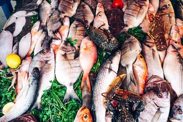 Fresh ocean fish at the market counter. Atlantic ocean seafood for sale.