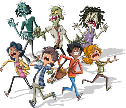Cartoon kids running from zombies. Zombie crowd chasing teenagers.