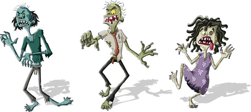 Cartoon zombie crowd walking. Scary undead monsters.