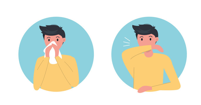 How to sneeze right  Infographic. Male character sneezing in elbow and paper napkin. Virus spread prevention. Flat vector illustration.