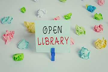 Text sign showing Open Library. Business photo showcasing online access to many public domain and outofprint books Colored crumpled papers empty reminder white floor background clothespin