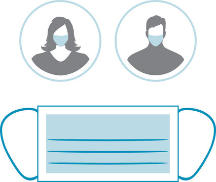 Medical mask and two icons with female and male silhouette in respirators