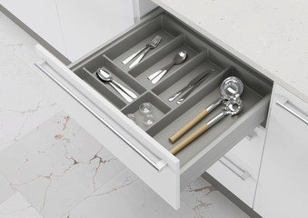Fototapeta Open kitchen drawer with cooking utensils. Storage and organization of the kitchen. 3d rendering. obraz