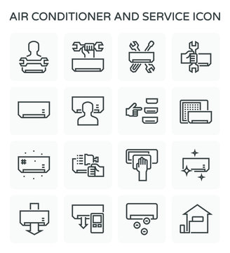 Air conditioner and service vector icon set design, editable stroke.