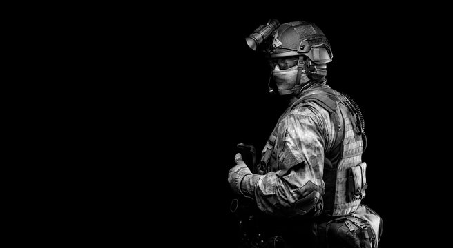 Portrait of a special forces soldier. The concept of military units. Computer games.