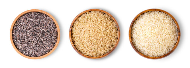 Various type and color of rice ; paddy rice, riceberry ,brown coarse rice and white thai jasmine rice in wooden bowl isolated on white background. Healthy diet concept. Flat lay. Top view.