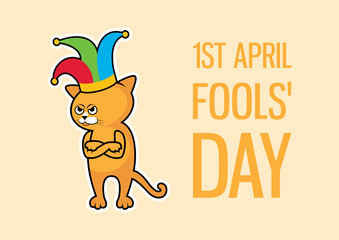 April Fools' Day Cat vector. Angry cat with clown hat vector. Angry cat with with jester hat cartoon character. Funny Cat icon vector. Important day