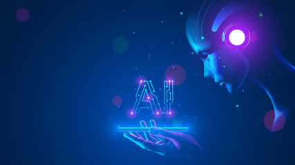 Cyborg woman look at logo AI hanging over phone. Abbreviation AI consists pcb elements. Artificial intelligence with beautiful face in blue virtual cyberspace leaning towards at screen smartphone. Wall mural