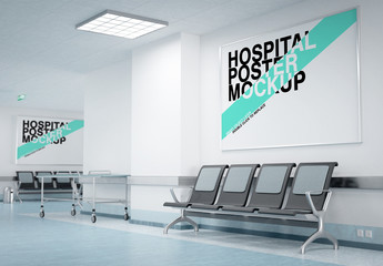 Two Posters in a Hospital Waiting Room Mockup