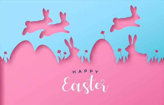 Happy easter colorful paper cut rabbit egg card