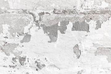 Fotobehang Oude vuile getextureerde muur Texture of old concrete wall with white peeling stucco background