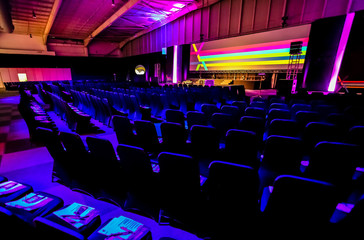 empty chairs in large Conference hall for Corporate Convention or Lecture