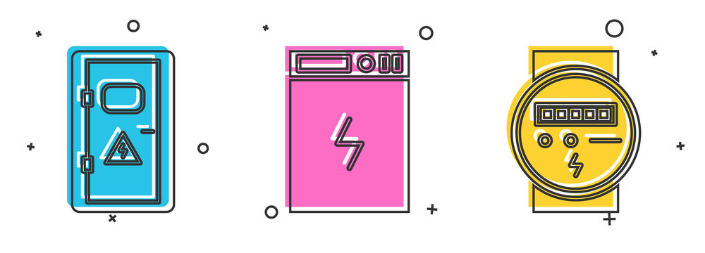Set Electrical cabinet, Power bank and Electric meter icon. Vector