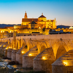 Fototapete - Mezquita Cathedral and Roman Bridge in Cordoba, Spain