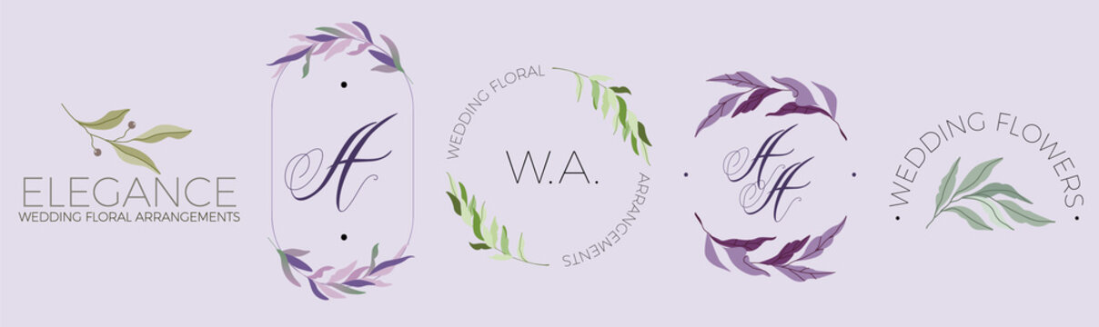 Minimalistic modern branch logo design floral elements. Purple and green leafs. Green olive and dark berries. Line oval frame, circular logo, Calligraphic handwritten A letter. Feminine vector items.