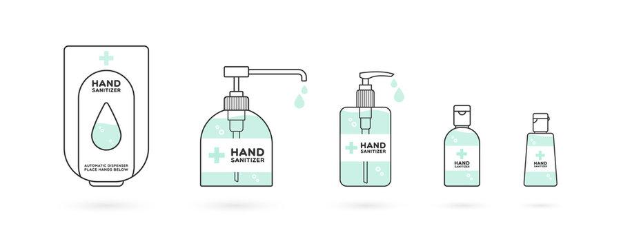 Hand sanitizer containers icon set. Washing alcohol gel used against viruses, bacteria, flu, coronavirus. Waterless hand cleaner. Handwashing. Black outline. Vector illustration, flat design