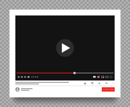 Interface of multimedia player of social media. Website page with playing video or video channel. Mockup on transparen background with shadow. Vector illustration.