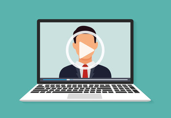 Illustration of webinar, online conference and training. Flat. Vector illustration