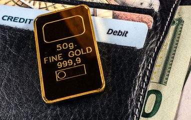 A leather wallet with cash dollars,  plastic cards and gold bar. Investment portfolio.