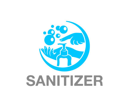 Hand sanitizer and hand washing, logo design. Hygiene, cleanliness and health, vector design and illustration
