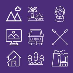Fotorolgordijn Violet Set of 9 landscape outline icons