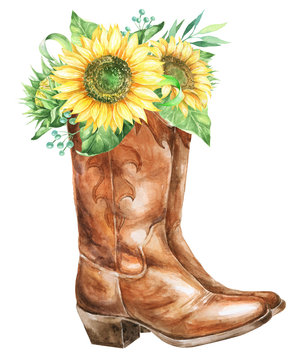 Watercolor cowboy boots with sunflowers.