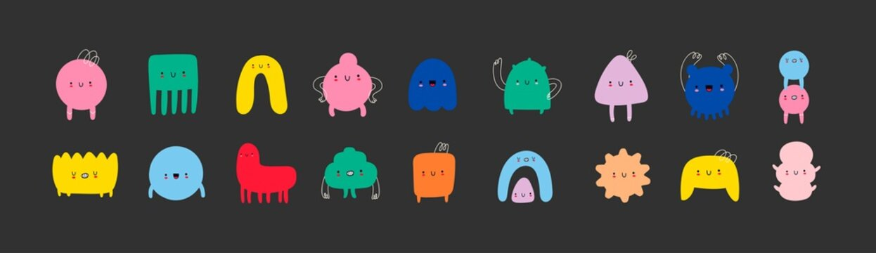 Hand drawn cute Tiny Little Doodle Monsters. Cheerful face emotions. Colorful big Vector set. Trendy illustration for kids. All elements are isolated on black background
