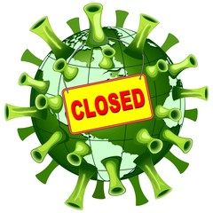 Coronavirus Covid-19 World Closed Vector Illustration isolated on white