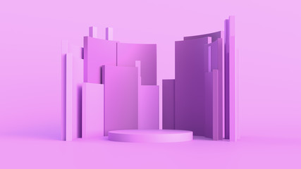 3d abstract background with pedestal. Simple shapes, smooth light, soft shadows. Roughness materials...