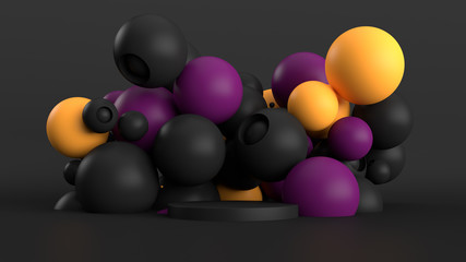 3d abstract background with pedestal. Simple sphere shapes, smooth light, soft shadows. Roughness materials.