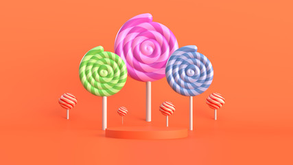 3d abstract background with pedestal. Simple shapes, smooth light, soft shadows. Roughness materials. Candy theme.