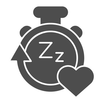 Sleep duration tracker line and solid icon. Gadget with arrow and heart symbol, outline style pictogram on white background. Healthy lifestyle sign for mobile concept and web design. Vector graphics.