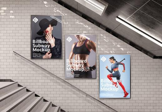 Billboards on Underground Stairs Wall Mockup