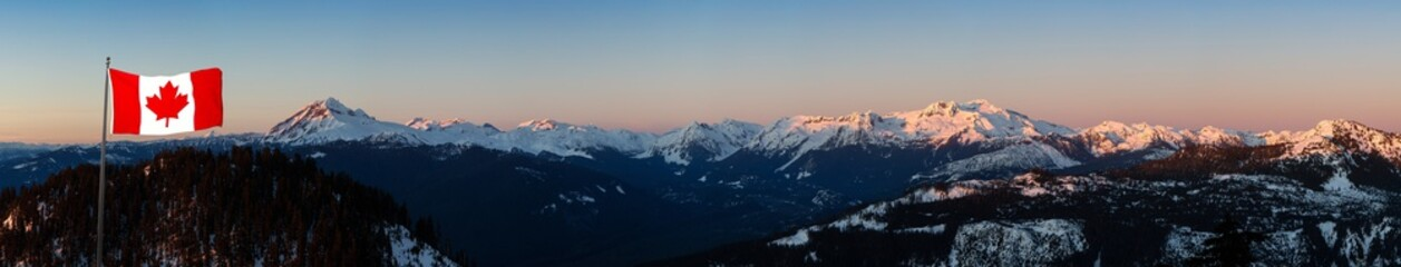 Beautiful Aerial Panoramic View of Canadian Mountain Landscape during a colorful sunset. Taken in Squamish, North of Vancouver, British Columbia, Canada. National Flag Composite Wall mural
