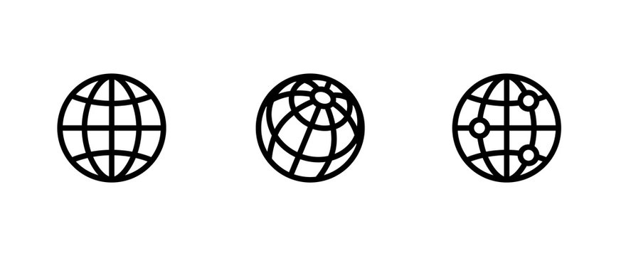 Three Globe and Network icons. Editable Line Vector.
