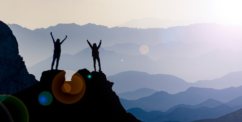 summit of successful female mountaineers