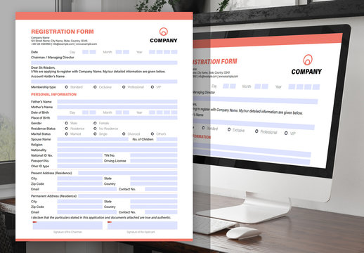 Interactive Form Layout with Red Header and Footer Elements