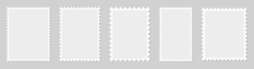 Postage stamp borders set vector