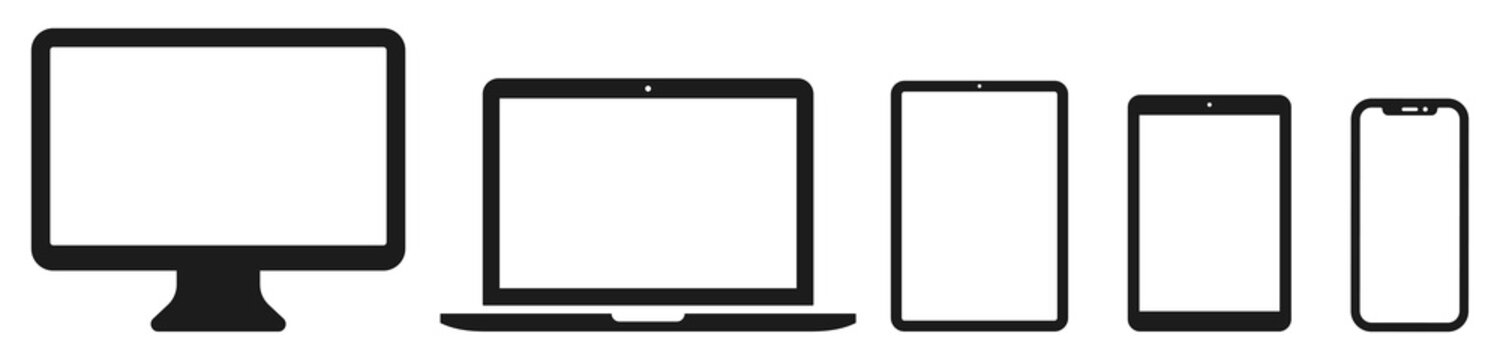 Device icon set: Laptop, Computer, Tablet and Smartphone. Vector illustration