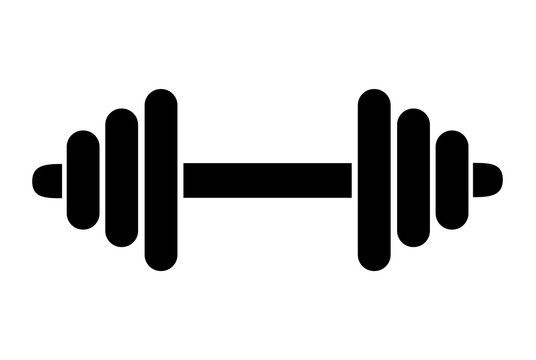 Dumbbell weight training equipment flat vector icon for exercise apps and websites . Bodybuilding symbol.