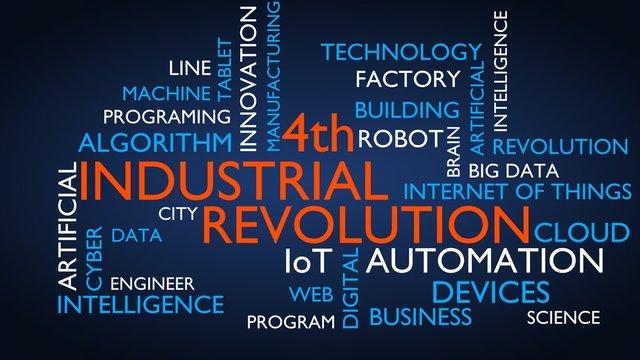 4th industrial revolution word tag cloud. 3D rendering, blue variant.