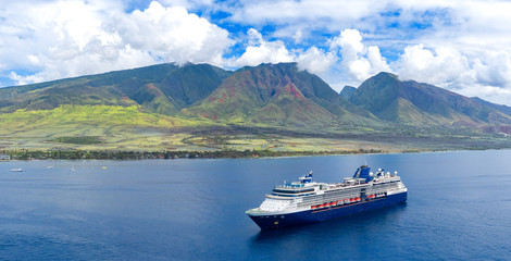 Wall Mural - Cruise ship near tropical islands